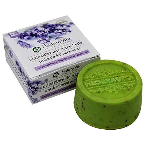 Hedera Vita antibakterielle Akne Seife   für unreine und fettige Haut   bekämpft Akne, Pickel und Mitesser   HandMade & Swiss Quality, 80gr (Akne-seife -)