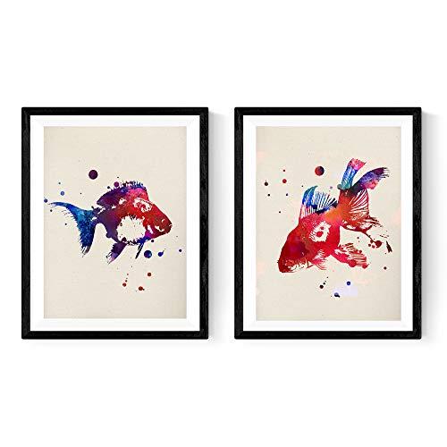 um Rahmen Fische AQUARELLE. Aquarell-Stil Poster mit Fisch Bilder. Inneneinrichtung. Rahmen zum Rahmen. Papier 250 Gramm hohe Qualität ()