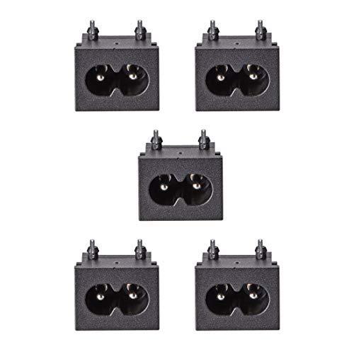 C8 Adaptateur de prise de montage sur panneau 250V AC 2.5A 125V 7A 2 broches IEC Module d'entrée Fiche Prise d'alimentation Angle droit Pack de 5