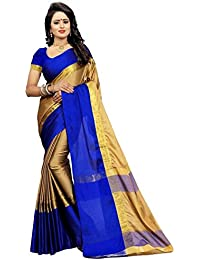 High Glitz Fashion Women's Cream & Blue Color Cotton Sari With Blouse Piece