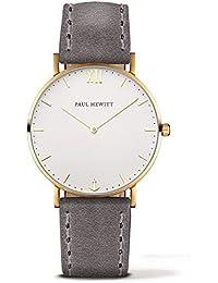 Paul Hewitt PH-SA-G-Sm-W-13S - Reloj con correa de piel para hombre, color blanco / gris