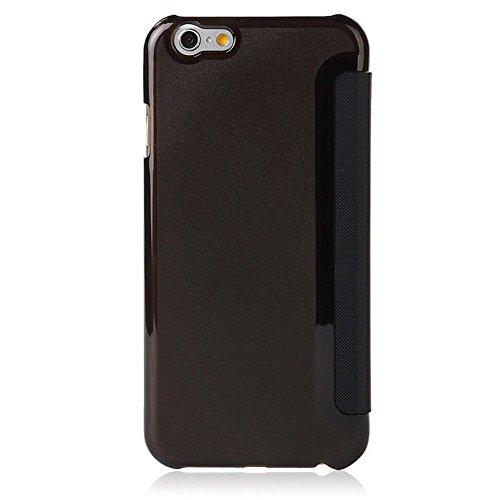 Coque iPhone 6, Coque iPhone 6s, Pasonomi® [Clear View] PU Cuir Folio Flip Cover Housse Coque Étui pour Apple iPhone 6 / 6s 4.7 pouces (iPhone 6/6s, Doré) Noir