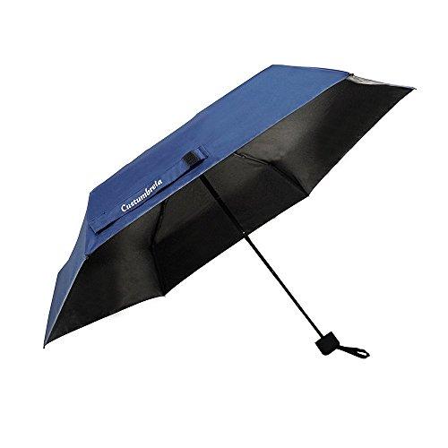 CUSTUMBRELA Mini Paraguas Umbrella Parasol Sombrilla de Viaje con Protección UV - Azul