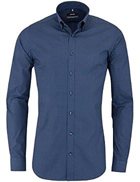SEIDENSTICKER X-Slim Hemd extra langer Arm Muster dunkelblau AL 71