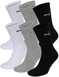 PUMA Unisex Crew Socks Socken Sportsocken MIT FROTTEESOHLE 6er Pack white / grey / black 325 - 39/42