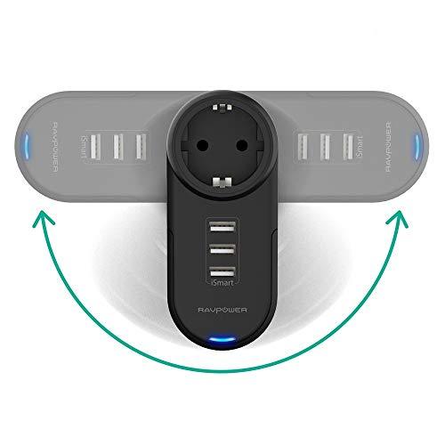 Multipresa USB RAVPower Caricatore da Muro Rotante 4-in-1 (1 AC Presa + 3 Porte USB) Stazione di ricarica iSmart 2.0 Tech Protezione da Sovratensione Nero