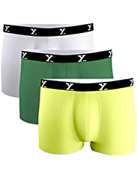 XYXX Men's Green White Lime Green Micro Modal Trunk (Pack of 3)