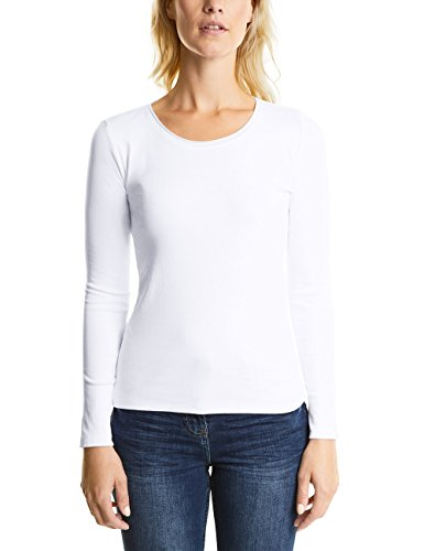 Cecil Damen Langarmshirt Pia 311485, Weiß (White 10000), Medium
