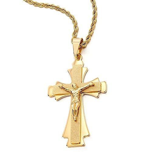 Große Dreischichtige Gold Farbe Jesus Christus Kruzifix-Keuz-Anhänger Herren Edelstahl Halskette mit 75cm Stahl Kette (Großes Kruzifix Charme)