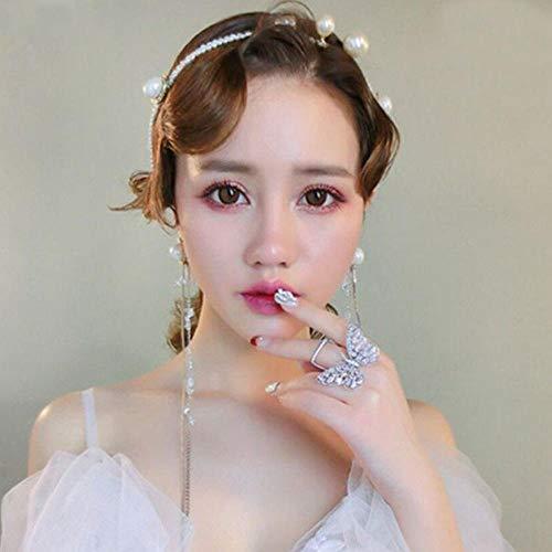 Littlefairy Braut Haarschmuck,Weiche Kette Kopfschmuck Braut Haar Verziert Perle Stirn Stirnband Ohrringe Set Hochzeit Accessoires