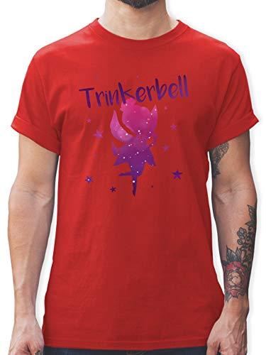 Karneval & Fasching - Trinkerbell - L - Rot - L190 - Herren T-Shirt und Männer (Rot Und Weißwein Kostüm)