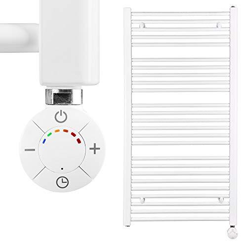 VEVASTO Badheizkörper elektrisch 1.142 x 600mm Handtuchheizkörper 600 Watt Handtuchtrockner weiß inkl. Heizstab Smart Thermostat