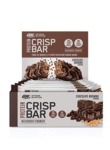 Optimum Nutrition Protein Crisp Bar Protein Riegel (mit 20g Eiweiß [enthält Whey Isolate], Proteinriegel von ON) Chocolate Brownie, 1er Pack (10x65g) - Gold-standard-protein-shake