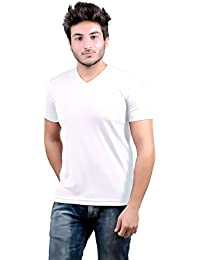 DS WORLD Stylish Regular Fit Plain Men's V-Neck Half Sleeve T-Shirt (White)