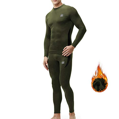 MEETWEE Thermounterwäsche Herren Funktionsunterwäsche Set,Skiunterwäsche Winter Suit Atmungsaktiv Lange Thermo Unterwäsche für Outdoor Jagd Running (Grün, M)