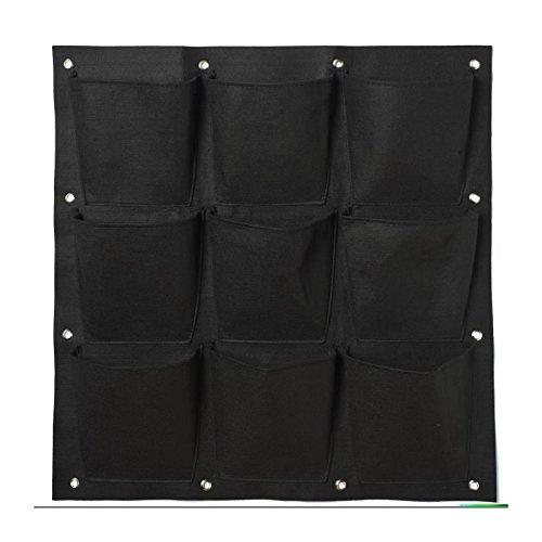 NATURE Mur végétal en tissu feutré 9 poches - 72x72cm - Noir