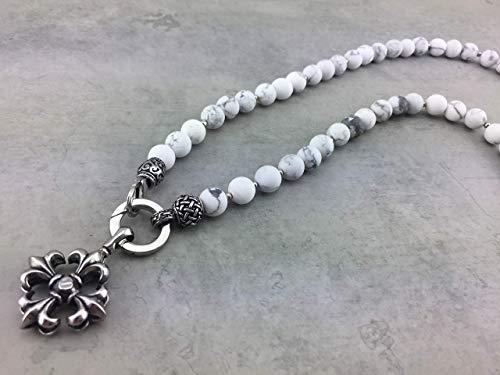 2in1 Halskette Y-Kette Rosenkranz Kette Perlenkette in weiß Howlith für den Sommer, Damen oder Herren Männer und Frauen Schmuck mit Anhänger zur Auswahl K65