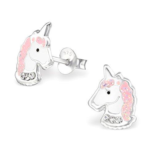 Boucles d'oreilles en forme de têtes de licornes pour fille - Clous d'oreilles roses en argent sterling - 11 mm