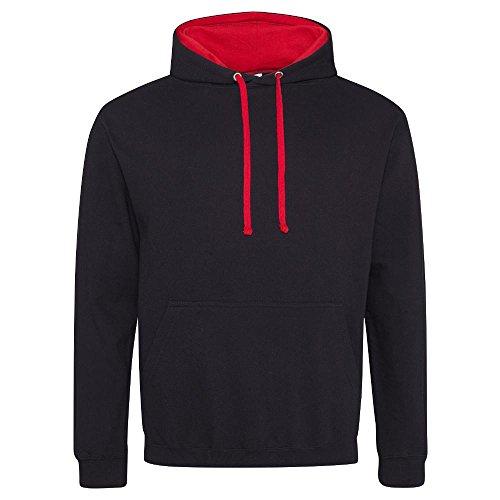 Just Hoods - Varsity Hoodie - 2-farbiger Kapuzenpullover M,Jet Black/Fire Red (Red Hoodie)