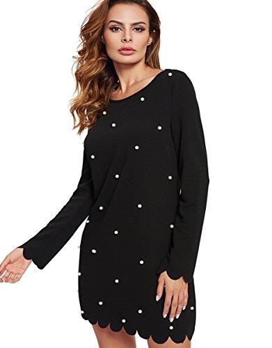 ROMWE Damen Langarm Kleid mit Perlen Falten Rock Elegant Kleider Schwarz