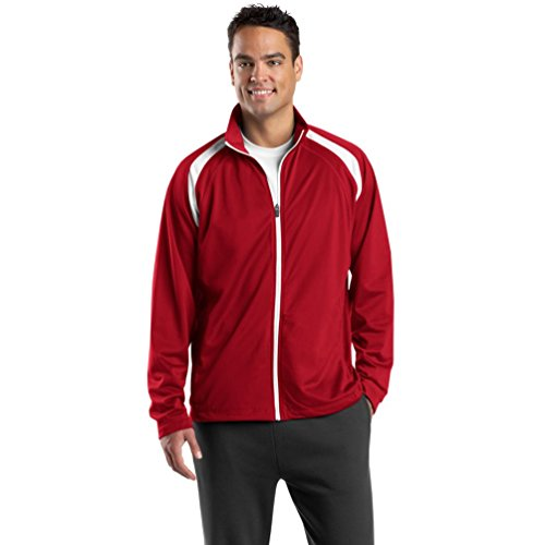 Sport-Tek Men's Track Veste en Tricot Rouge - True Red/White