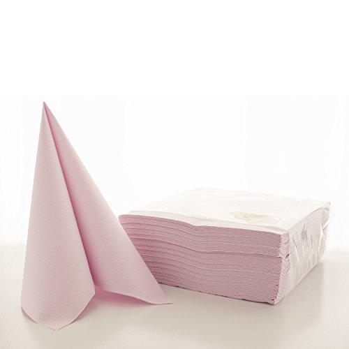 Sovie HORECA Airlaid-Servietten 40x40 cm / hochwertige Einweg-Servietten / extrem saugstark und stoffähnlich / ideal für Hochzeit & Partys / 50 Stück / Hell-Rosa Taufe, Papierservietten