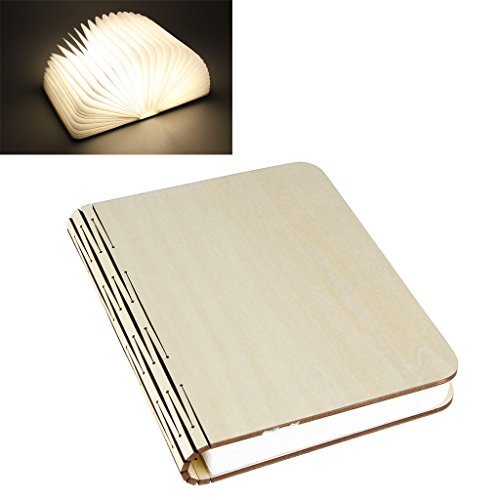 Excelvan LED Luz Plegable de Libro Madera (Booklight, 500 Lumens, Recargable USB,...