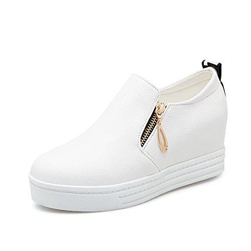 balamasa Mesdames kitten-heels Round-Toe Optimiser à enfiler à l'intérieur en caoutchouc pumps-shoes Blanc
