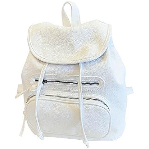 Tongshi Muchacha de las mujeres de cuero del hombro del bolso del bolso de escuela del recorrido del morral de la taleguilla Mochila (Blanco)