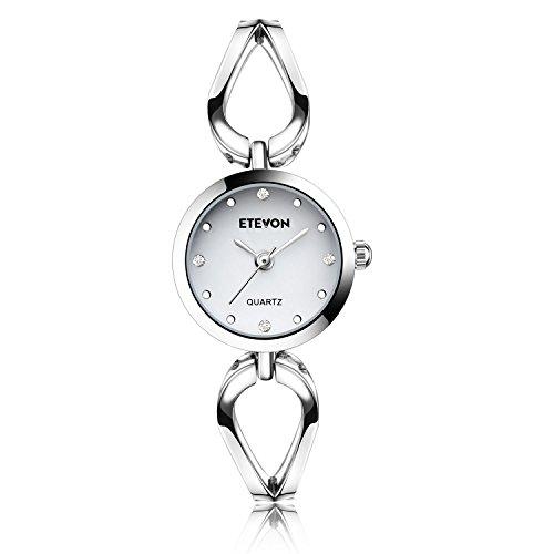 Bereit❤ ETEVON Frauen Quarz Silber Armbanduhr mit Kleine Crystal Zifferblatt und Hohlen Armband Wasserdicht Lässig Einfache Verkleiden Armbanduhren für Damen (Verkleiden Tag Ideen)
