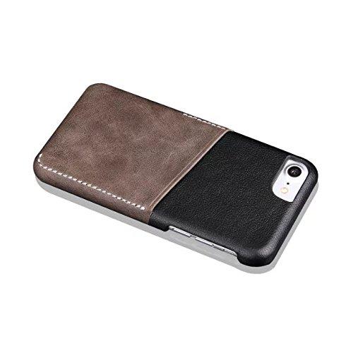 iPhone 8 Plus Hülle, Fraelc iPhone 7 Plus Ultra Hybrid Schutzhülle Hart Plastic Back Cover mit Leder Rückseite Kartenfächer Tasche Case für Apple iPhone 8 Plus / 7 Plus 5,5 Zoll in Braun Braun
