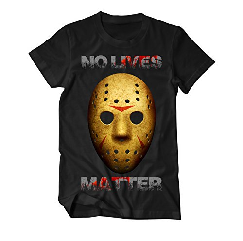 atter Jason Maske T-Shirt Herren schwarz Large (Jason Halloween-musik)