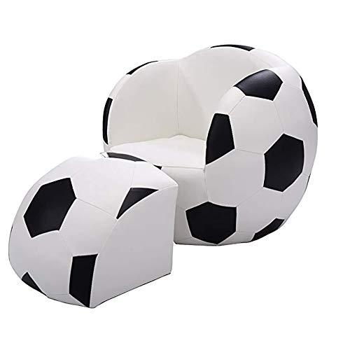 Softneco Fußball Kinder Sofa mit hocker geformt, Pu Leder Freizeit Stuhl Couch Sessel möbel Weiche lagerschwelle-Sofa-Bett-Weiß 52 x 48 x 43cm (Fußball-sessel Und Hocker)