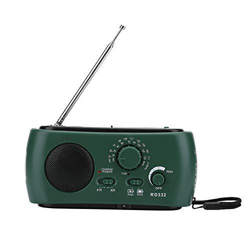 DEWIN LED Camping Taschenlampe Radio - Solar-Handkurbel AM/FM-Radio mit LED-Taschenlampe Notruf-Ladegerät (dunkelgrün) - Betrieben Batterie Radio-taschenlampe