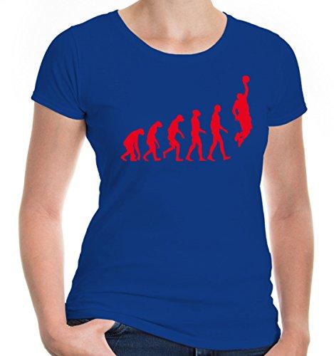 buXsbaum Damen Girlie T-Shirt The Evolution of Basketball   Development Ballsport Fanshirt Trikot   XS, Blau (Dunk-mann-schuhe)
