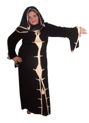 Egypt Bazar Dubai Abaya im Islamischen Stil Festkleid mit eingenähten Schleier-schwarz-gold-...