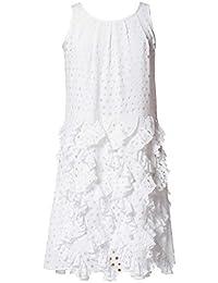 APART Damen-Kleid Lasercut-Volantkleid Weiß Größe 40