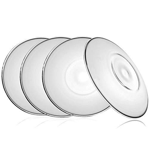 TAMUME 12cm Glas Untertasse Set Ideal für Familien-Tee-Service, Packung mit 4 (4* Untertasse Groß) 4 Untertassen