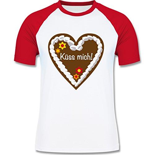 Oktoberfest Herren - Lebkuchenherz Küss mich - zweifarbiges Baseballshirt für Männer Weiß/Rot