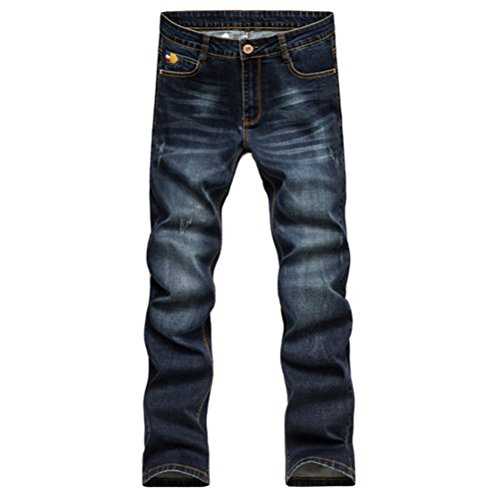 Zhhlaixing Klassisch Mens Denim Jeans Trousers Cotton Washed Straight Stretch Leg Pants Dark Blue