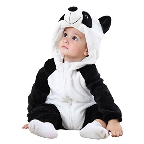 COOKY.D Bébé Filles Garçons Capuche Grenouillères 100% Doux Flanelle Hiver Dessin Animé Pyjama de Combinaison pour 0-24 Mois, Panda, 90cm
