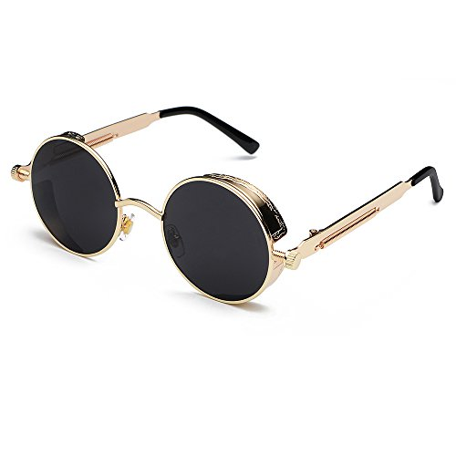 Cvoo Round Metal Sunglasses Steam Punk Men Women Fashion Glasses Brand Designer Retro Vintage Sunglasses Uv400