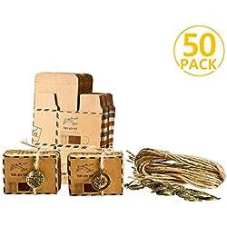 Foonii 50pcs Vintage sachets Cadeau dragées de Mariage avec décoration en métal, Mariage, Chocolat Bonbons et boîtes Cadeau 6.5cm x 3.5cm x 4cm