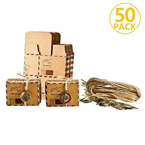 Foonii 50pcs bomboniere vintage carta kraft candy scatole regalo, ideale per confetti, caramelle, cioccolatini, gioielli e regali piccoli, ecc