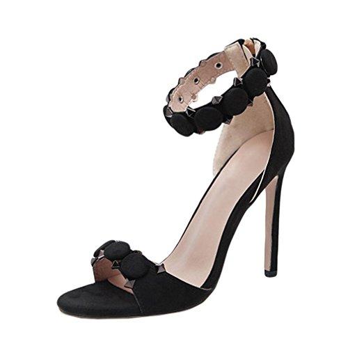 Damenschuhe Kolylong® Frauen Elegant Wildleder Schuhe mit Absatz Vintage Stilettos High Heels Sommer Offene Sandalen Mode Pumps Business Party Hochzeit Schuhe (CN :42, Schwarz)