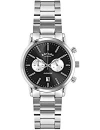 Rotary Men's Quartz Watch with Black Dial Chronograph Display and Silver Stainless Steel Bracelet GB02730/04