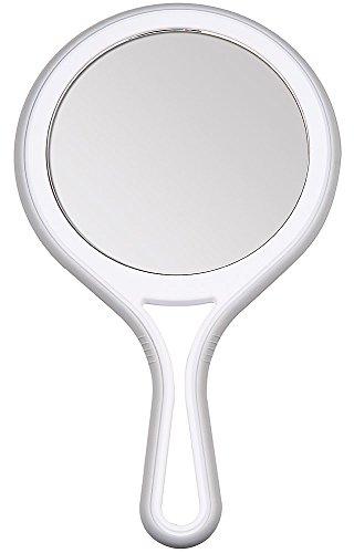 Kosmetex Handspiegel mit 5-fach und 2-fach Vergrößerung, 2 Spiegel-Flächen, Kosmetik-Spiegel 27cm Ø 12.5 - Kosmetik-spiegel