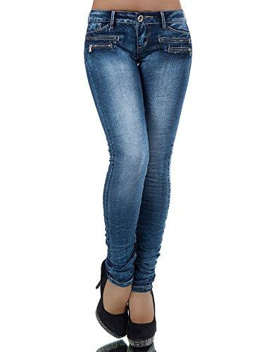 L772 Damen Jeans Hose Hüfthose Damenjeans Hüftjeans Röhrenjeans Röhrenhose Röhre, Farben:Blau;Größen:42 (XL) (Hose Cord Low Rise Stretch)