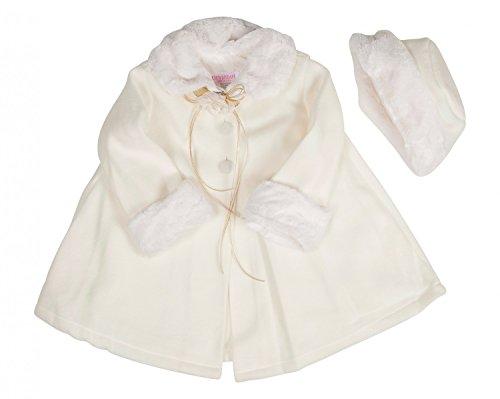 BIMARO Baby Mädchen Babymantel Mila creme beige Fleece Mütze Plüsch Taufmantel Jacke Mantel Hochzeit Taufe , Größe:74/80 (Creme-fleece-jacke)