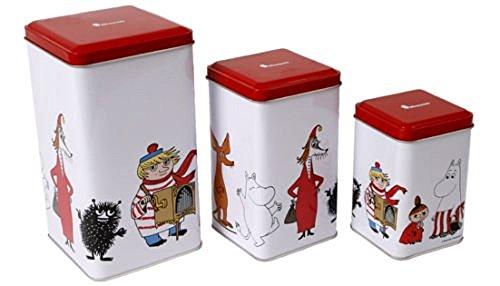 3-er Set Mumins (Moomin) Aufbewahrung Küche, Lebensmittel, Zinn, Kanister, Gläser, Schachteln, Dosen- & Deckelöffner